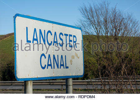 A sign on the M6 Northbound between junctions 35 and 36 for the Lancaster Canal. Lancashire, England, UK - Stock Photo