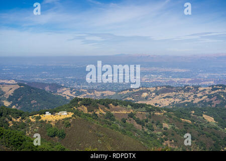 View towards San Jose from the top of Bold Mountain, Santa Cruz mountains; Diablo Range can be seen on the other side of the valley, California - Stock Photo