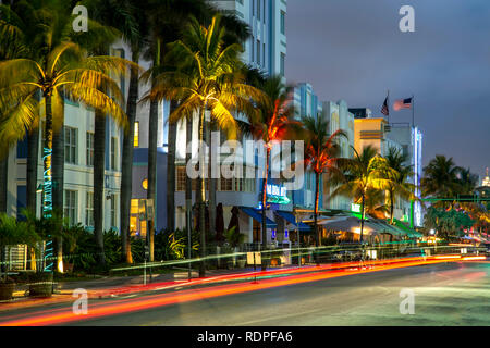 Row of hotels and light streaks, South Beach, Miami Beach, Florida USA - Stock Photo