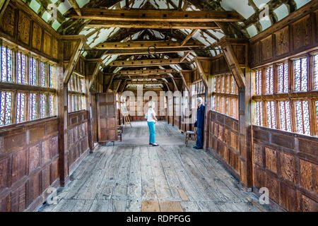 Interior view of medieval tudor long gallery in Little Moreton Hall in Moreton, Cheshire, UK on 3 September 2014 - Stock Photo