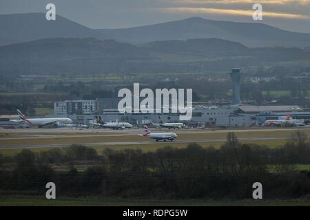 Edinburgh    January  18 2019;   General view of Edinburgh Airport.  credit steven scott taylor / alamy live news - Stock Photo
