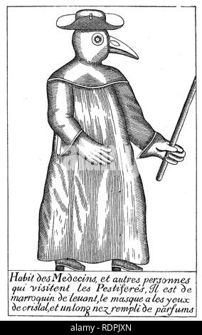 PLAGUE DOCTOR 17th century French illustration of a doctor dressed to visit plague victims - Stock Photo