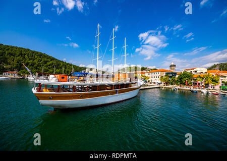 Skradin, a small town on river Krka - Stock Photo