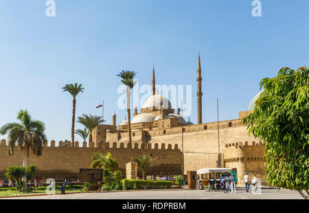 Great Mosque of Muhammad Ali Pasha within the walls of  the Saladin Citadel, a medieval Islamic fortification in  Cairo, Egypt - Stock Photo