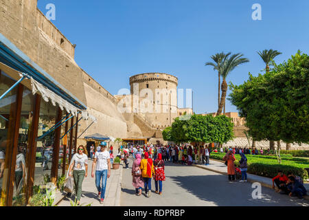 View outside the walls of the entrance to Saladin Citadel, a medieval Islamic fortification in  Cairo, Egypt - Stock Photo