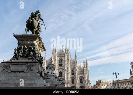 Cathedral in Milano and Vittorio Emanuele II monument - Stock Photo