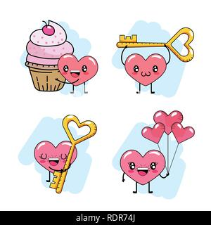 set heart with muffin and key with balloons to valentines day - Stock Photo