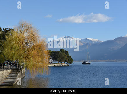 View of the mountains from Locarnos lakeside, Switzerland - Stock Photo