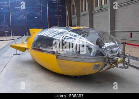 Cherbourg, France - August 26, 2018: One of the bathyscaphes in the Great Hall of the maritime museum City of the Sea in Cherbourg, France. - Stock Photo