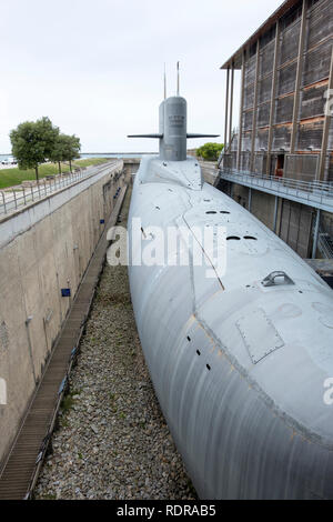 Cherbourg, France - August 26, 2018: Nuclear submarine Le Redoutable of French Navy in the City of the Sea , maritime museum of Cherbourg. France - Stock Photo