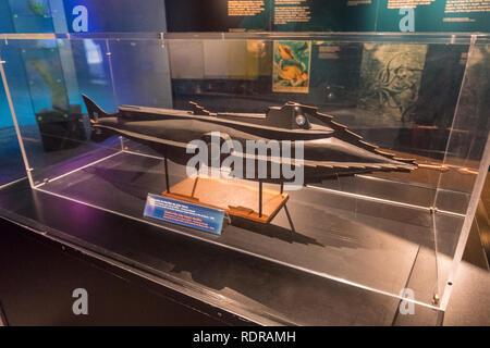 Cherbourg, France - August 26, 2018: Model of the Jules Verne's Nautilus in maritime museum La Cite de La Mer or City of the Sea in Cherbourg, France - Stock Photo