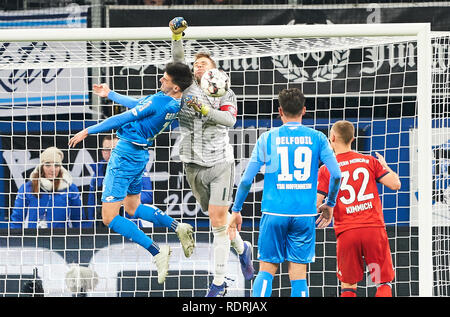 Sinsheim, Germany. 18th Jan, 2019. Manuel NEUER, FCB 1 compete for the ball, tackling, duel, header, action, fight against Florian GRILLITSCH, Hoff 11 1899 HOFFENHEIM - FC BAYERN MUNICH - DFL REGULATIONS PROHIBIT ANY USE OF PHOTOGRAPHS as IMAGE SEQUENCES and/or QUASI-VIDEO - 1.German Soccer League in Sinsheim, Germany, January 18, 2019 Season 2018/2019, matchday 18, FCB, München, Credit: Peter Schatz/Alamy Live News - Stock Photo