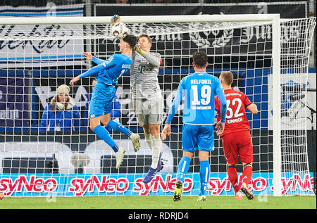 Sinsheim, Germany. 18th Jan, 2019. Manuel NEUER, FCB 1 compete for the ball, tackling, duel, header, action, fight against Florian GRILLITSCH, Hoff 11 fights for the ball, catches, catch, hold, defend, action, frame, cut out, reaction, fist, 1899 HOFFENHEIM - FC BAYERN MUNICH 1-3 - DFL REGULATIONS PROHIBIT ANY USE OF PHOTOGRAPHS as IMAGE SEQUENCES and/or QUASI-VIDEO - 1.German Soccer League in Sinsheim, Germany, January 18, 2019 Season 2018/2019, matchday 18, FCB, München, Credit: Peter Schatz/Alamy Live News - Stock Photo