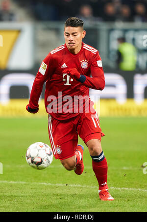 Sinsheim, Germany. 18th Jan, 2019. James RODRIGUEZ, FCB 11 drives, controls the ball, action, full-size, Single action with ball, full body, whole figure, cutout, single shots, ball treatment, pick-up, header, cut out, 1899 HOFFENHEIM - FC BAYERN MUNICH 1-3 - DFL REGULATIONS PROHIBIT ANY USE OF PHOTOGRAPHS as IMAGE SEQUENCES and/or QUASI-VIDEO - 1.German Soccer League in Sinsheim, Germany, January 18, 2019 Season 2018/2019, matchday 18, FCB, München, Credit: Peter Schatz/Alamy Live News - Stock Photo