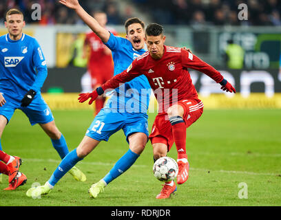 Sinsheim, Germany. 18th Jan, 2019. James RODRIGUEZ, FCB 11 compete for the ball, tackling, duel, header, action, fight against Benjamin HUEBNER, Hoff 21 1899 HOFFENHEIM - FC BAYERN MUNICH 1-3 - DFL REGULATIONS PROHIBIT ANY USE OF PHOTOGRAPHS as IMAGE SEQUENCES and/or QUASI-VIDEO - 1.German Soccer League in Sinsheim, Germany, January 18, 2019 Season 2018/2019, matchday 18, FCB, München, Credit: Peter Schatz/Alamy Live News - Stock Photo