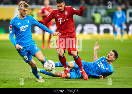 Sinsheim, Germany. 18th Jan, 2019. James RODRIGUEZ, FCB 11 compete for the ball, tackling, duel, header, action, fight against Benjamin HUEBNER, Hoff 21 Stefan POSCH, Hoff 38 1899 HOFFENHEIM - FC BAYERN MUNICH 1-3 - DFL REGULATIONS PROHIBIT ANY USE OF PHOTOGRAPHS as IMAGE SEQUENCES and/or QUASI-VIDEO - 1.German Soccer League in Sinsheim, Germany, January 18, 2019 Season 2018/2019, matchday 18, FCB, München, Credit: Peter Schatz/Alamy Live News - Stock Photo