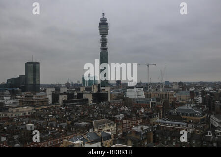 London UK. 19th January 2019. UK Weather:  High angle view of BT tower and London skyline on a cold overcast day Credit: amer ghazzal/Alamy Live News - Stock Photo