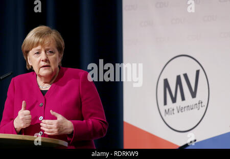 Rostock, Germany. 19th Jan, 2019. Chancellor Angela Merkel (CDU) speaks to party members at the state party conference of the CDU Mecklenburg-Western Pomerania. The CDU Mecklenburg-Western Pomerania will meet in the city hall for their 34th state party conference. Credit: Danny Gohlke/dpa/Alamy Live News - Stock Photo