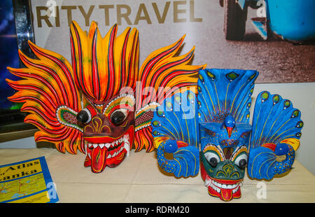 London, UK. 19th Jan, 2019. London Olympia open its doors for the 23th year edition of the Adventure Travel Show 2019, with Masks from Phillipins .Gain top tips and advice from the experts and uncover hidden travel gem@Paul Quezada-Neiman/Alamy Live News Credit: Paul Quezada-Neiman/Alamy Live News - Stock Photo