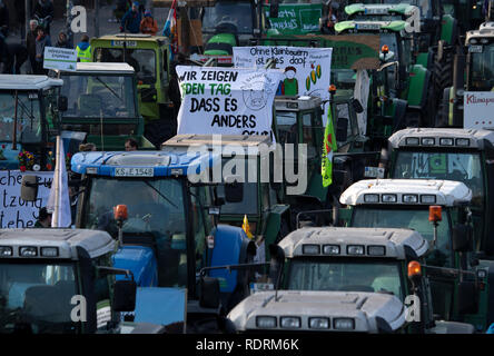 Berlin, Germany. 19th Jan, 2019. Participants of a demonstration protest with tractors at the Brandenburg Gate under the motto 'We are fed up with agricultural industry'. On the occasion of the agricultural fair Green Week several thousand people demonstrate in Berlin for more environmental and animal protection in agriculture. Credit: Ralf Hirschberger/dpa/Alamy Live News - Stock Photo