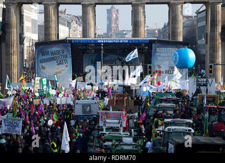 Berlin, Germany. 19th Jan, 2019. Participants of a demonstration protest at the Brandenburg Gate under the motto 'We are fed up with agricultural industry'. On the occasion of the agricultural fair Green Week several thousand people demonstrate in Berlin for more environmental and animal protection in agriculture. Credit: Ralf Hirschberger/dpa/Alamy Live News - Stock Photo