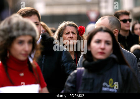 Rome, Italy. 19th Jan, 2019. Women Rome January 19th 2019. Women's March Rome, march of solidarity for the civil rights and civil rights for women, organized by the American community of Rome, simultaneously with the women's march that take place worldwide on January 19th. Foto Samantha Zucchi Insidefoto Credit: insidefoto srl/Alamy Live News - Stock Photo