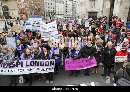 London, UK. 19th Jan, 2019. Hundreds of women gather at Portland Place before marching to Trafalgar Square. Marching for workers rights for women and against austerity in the United Kingdom. Credit: Penelope Barritt/Alamy Live News - Stock Photo