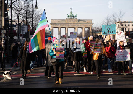 Berlin, Germany. 19th Jan, 2019. Demonstrators, some holding banners, take part in the 2019 Woman's March in Berlin, Germany, January 19, 2019. Some 2000 participants marched along the German capital's Unter Den Linden street holding signs and chanting slogans in a call for economic and social equality for women. Credit: Omer Messinger/ZUMA Wire/Alamy Live News Credit: ZUMA Press, Inc./Alamy Live News - Stock Photo