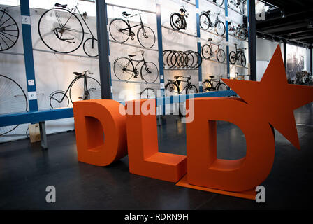 19 January 2019, Bavaria, München: The logo of the innovation conference Digital-Life-Design (DLD) is located in the Deutsches Museum Verkehrszentrum. The annual meeting, organised by the Burda media group, aims to build a bridge between technology, business and culture. Photo: Lino Mirgeler/dpa - Stock Photo