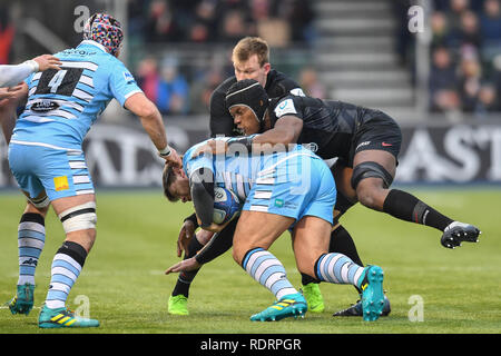 London, UK. 19th Jan, 2019. during Heineken Champions Cup between Saracens v Glasgow Warriors at Allianz Park on Saturday, 19 January 2019. LONDON ENGLAND.  (Editorial use only, license required for commercial use. No use in betting, games or a single club/league/player publications.) Credit: Taka Wu/Alamy Live News - Stock Photo