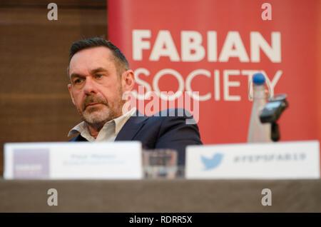 London, UK. 19th January 2019. Paul Mason, journalist, addresses the Fabian New Year Conference Credit: Prixpics/Alamy Live News - Stock Photo