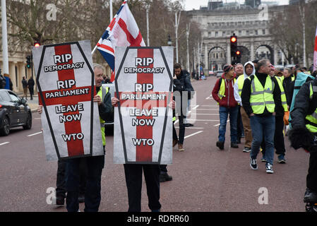 Westminster, London, UK. 19th January 2019. The Yellow vests protesters stop traffic as they walk through central London from Trafalgar Square to Buckingham Palace and stopping outside the French embassy in Knightsbridge, Credit: Matthew Chattle/Alamy Live News - Stock Photo