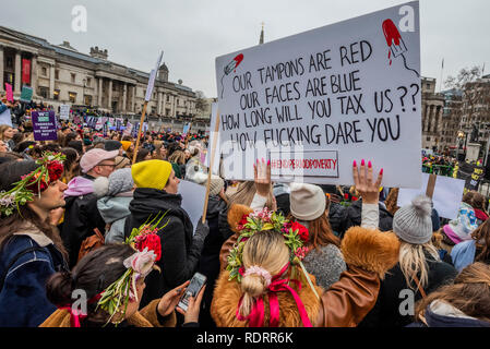 London, UK. 19th January 2019. Tampon Tax - The London Chapter of the Women's March Movement organises a 'bread and roses' march in memeory of the 1912 protests that revoutionised workers rights for women and against austerity. Credit: Guy Bell/Alamy Live News - Stock Photo