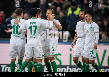 Hannover, Germany. 19th Jan, 2019. Soccer: Bundesliga, Hannover 96 - Werder Bremen, 18th matchday in the HDI-Arena. Bremen's players cheer after the 0:1 by Bremen's Milot Rashica (r). Credit: Swen Pförtner/dpa - IMPORTANT NOTE: In accordance with the requirements of the DFL Deutsche Fußball Liga or the DFB Deutscher Fußball-Bund, it is prohibited to use or have used photographs taken in the stadium and/or the match in the form of sequence images and/or video-like photo sequences./dpa/Alamy Live News - Stock Photo