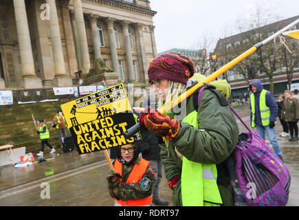 Bolton, UK. 19 January 2019. Bolton, Lancashire, UK. The Bolton Yellow Vest Protest saw a crowds f people in high-visibility jackets gather at 12.30pm on Saturday, January 19, in Victoria Square in front of the Town Hall in association with other rallies organised by The People's Assembly.  Leila Hassan and Sasha Roper are part of Stand Up To Racism Bolton, the group which is organising the rally. They take inspiration from the 'yellow vest' protests in France which have seen hundreds of thousands of people march against austerity policies in Paris.   Credit: Phil Taylor/Alamy Live News - Stock Photo