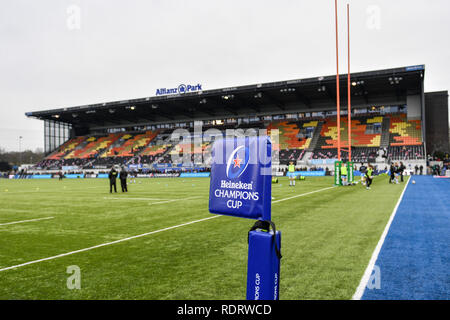 London, UK. 19th Jan, 2019. A general view of Allianz Park Stadium before the game prior to the Heineken Champions Cup between Saracens v Glasgow Warriors at Allianz Park on Saturday, 19 January 2019. LONDON ENGLAND.  (Editorial use only, license required for commercial use. No use in betting, games or a single club/league/player publications.) Credit: Taka Wu/Alamy Live News - Stock Photo