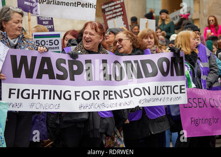 London, UK. - Jan 19, 2019: WASPI campaigners during the Bread and Roses women's march through London. - Stock Photo