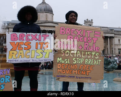 London, UK. 19th January 2019. Worldwide women's marches today, including in London against violence and austerity. The rally in London has been named 'Bread and Roses' in honour of the American feminist Rose Schneiderman, directing attention to the impact of austerity on women. Credit: Joe Kuis /Alamy Live News - Stock Photo