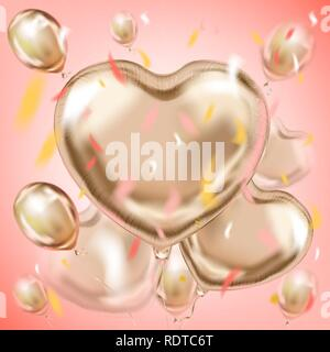 Pink image with the metallic foil heart shape balloons bouquet - Stock Photo
