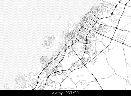 Area map of Dubai, United Arab Emirates. This artmap of Dubai contains geography lines for land mass, water, major and minor roads. - Stock Photo