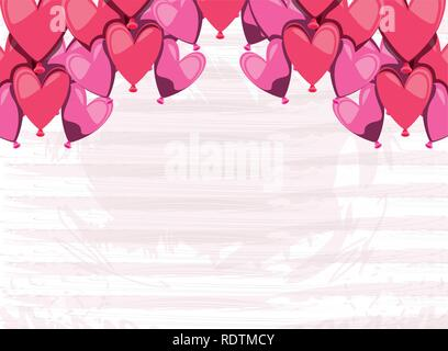set of balloons helium in shape heart vector illustration design - Stock Photo