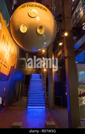 Cherbourg, France - August 26, 2018: One of the bathyscaphes of the maritime museum La Cite de La Mer or City of the Sea in Cherbourg, France. - Stock Photo