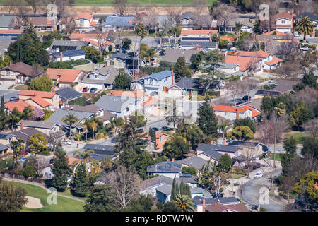Aerial view of residential neighborhood in San Jose, south San Francisco bay area, California - Stock Photo
