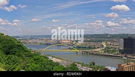 Pittsburgh Pennsylvania USA June 08, 2010 View of the Ohio River flowing under the Fort Pitt bridge with the Allegheny River on the other side. - Stock Photo