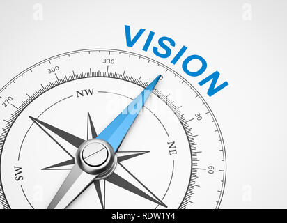 Magnetic Compass with Needle Pointing Blue Vision Word on White Background 3D Illustration