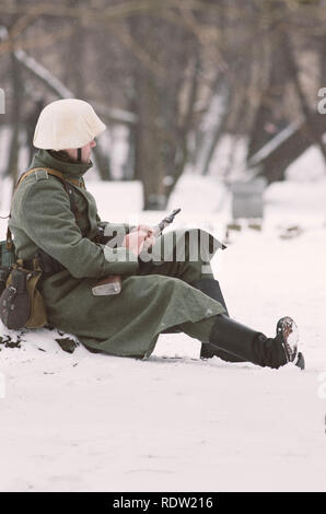 The park Ekaterinhof, St. Petersburg (Russia) - February 23, 2017: Military historical reconstruction of events of World War II. - Stock Photo