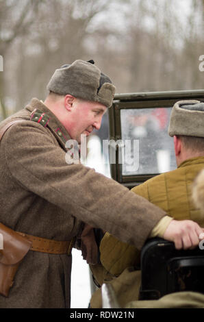 St. Petersburg, Russia - February 23, 2017: The Soviet officer with signs of distinction in celebration of the Day of Defender of the Fatherland. Hist - Stock Photo