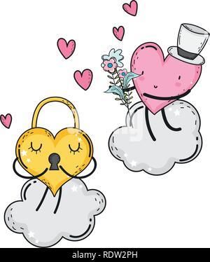 hearts love couple kawaii characters - Stock Photo