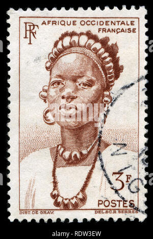 Postage stamp from French West Africa issued in 1947 - Stock Photo