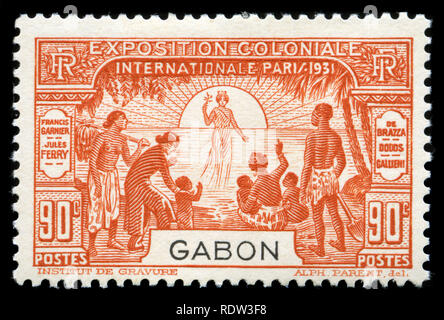 Postage stamp from Gabon in the Colonial Exhibition in Paris series issued in 1931 - Stock Photo